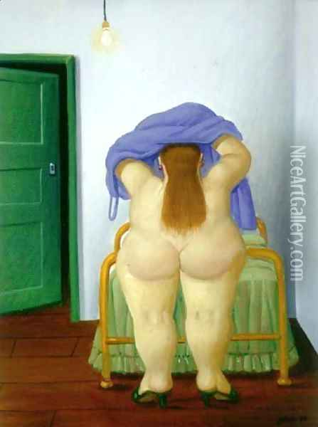 Woman Undressing Oil Painting - Fernando Botero