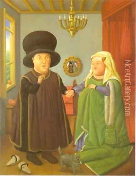 The Arnolfini After van Eyck 1997 Oil Painting - Fernando Botero