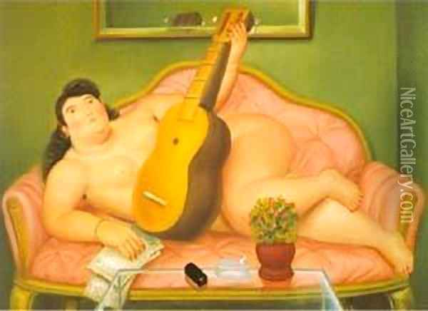 Woman with Guitar 1988 Oil Painting - Fernando Botero