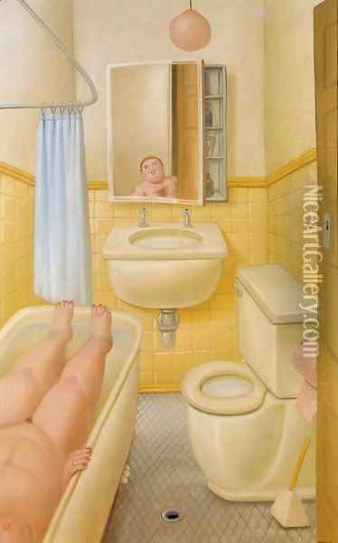 Bathroom Oil Painting - Fernando Botero