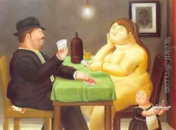 The Card Player 1988 Oil Painting - Fernando Botero