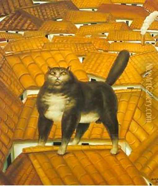 Cat on a roof 1978 Oil Painting - Fernando Botero