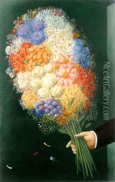 Flowers Flores Oil Painting - Fernando Botero