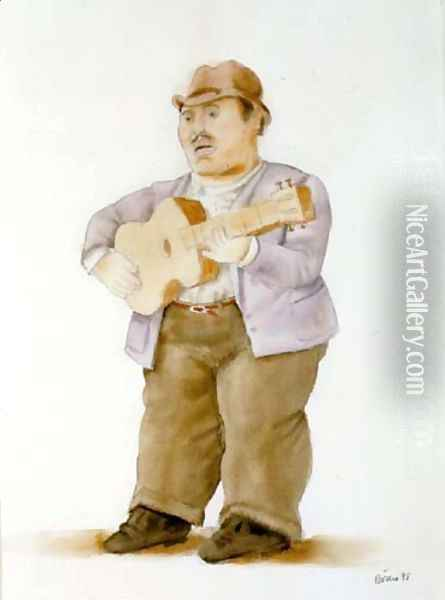 Man Playing Guitar II Oil Painting - Fernando Botero