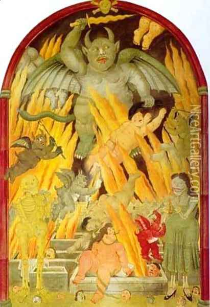 Gate of hell 1993 Oil Painting - Fernando Botero