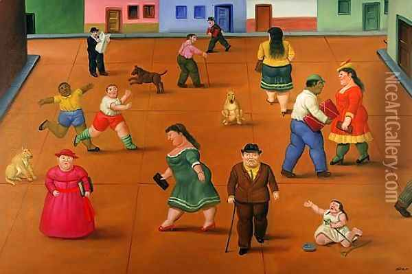 The Square Oil Painting - Fernando Botero