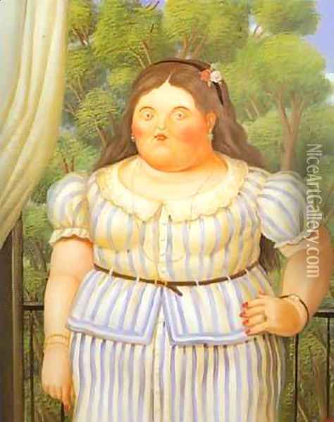 Woman on a Balcony 1995 Oil Painting - Fernando Botero
