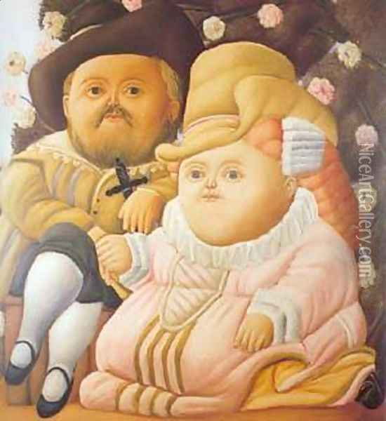 Rubens and his Wife 1965 Oil Painting - Fernando Botero