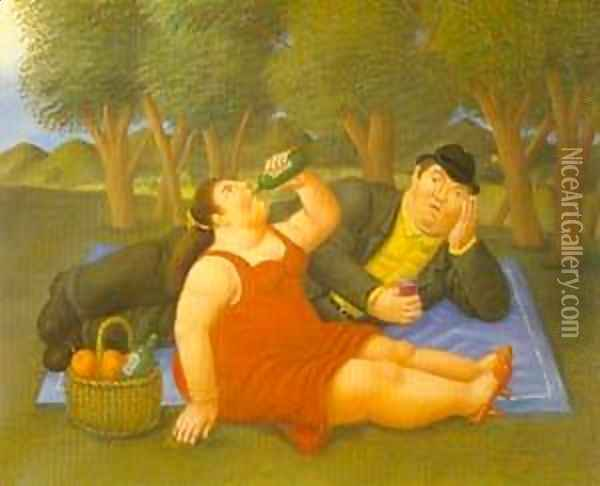 Picnic 1997 Oil Painting - Fernando Botero