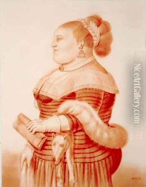 Woman With Fox Mujer Con Zorro Oil Painting - Fernando Botero