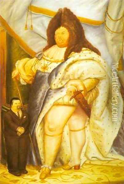 Self-Portrait with Louis XIV 1973 Oil Painting - Fernando Botero