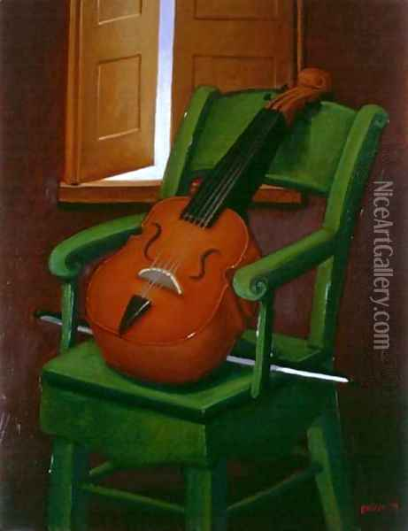 Violin On A Chair Oil Painting - Fernando Botero