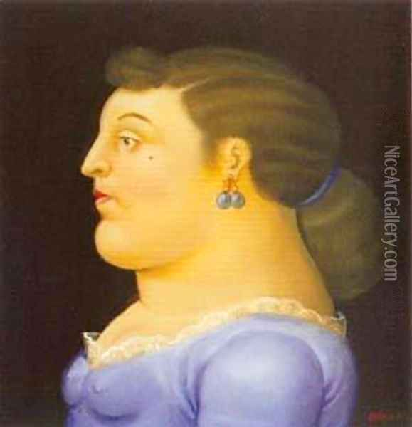 Woman in Profile 1995 Oil Painting - Fernando Botero