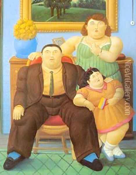 Colombian Family 1999 Oil Painting - Fernando Botero