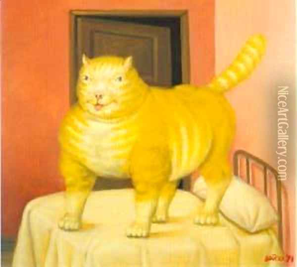 The Cat 1994 Oil Painting - Fernando Botero