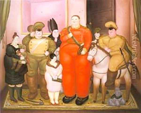 Offcial Portrait of the Military Junta 1971 Oil Painting - Fernando Botero