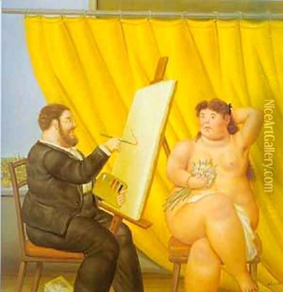 Painter and His Model 1995 Oil Painting - Fernando Botero