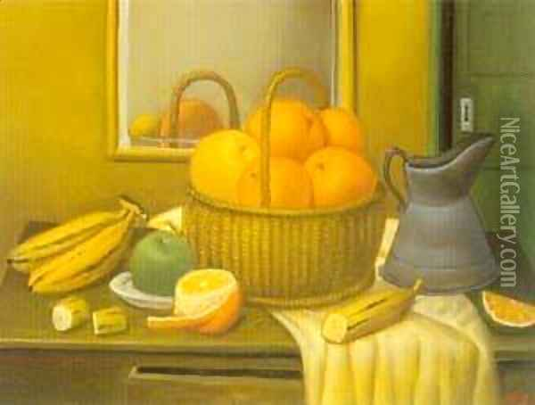 Still Life With Fruit Basket 1996 Oil Painting - Fernando Botero