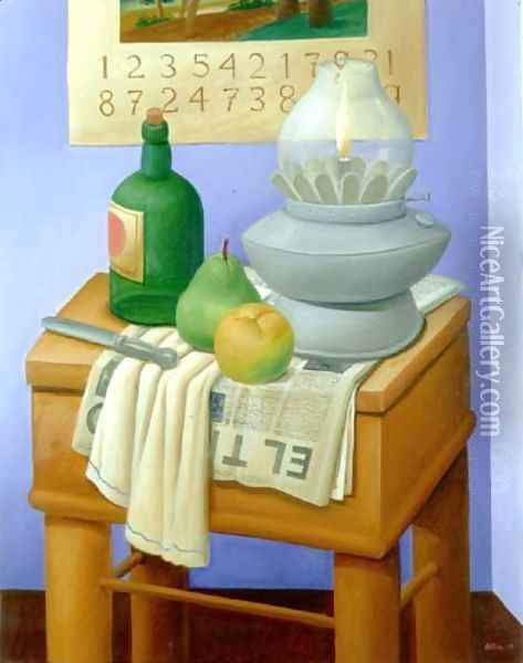 Still Life With Lamp And Bottle Oil Painting - Fernando Botero
