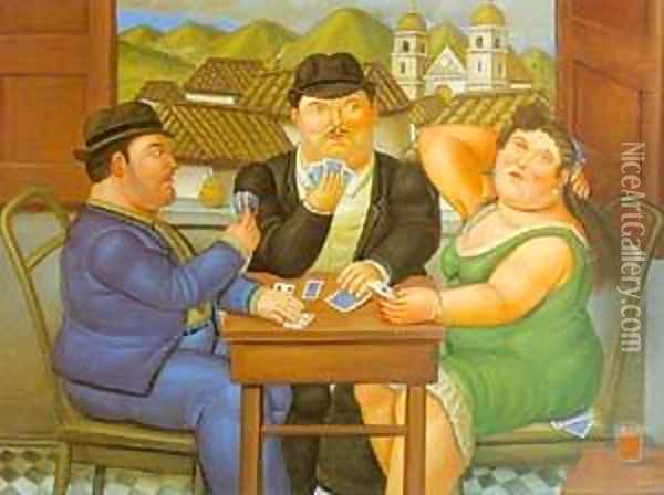 The Card Player 1996 Oil Painting - Fernando Botero