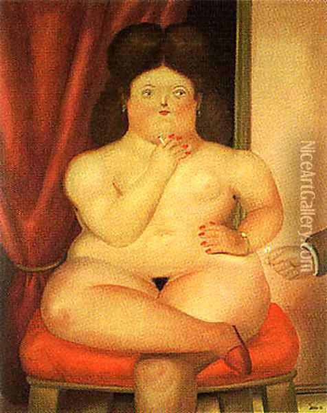 Seated Woman Oil Painting - Fernando Botero