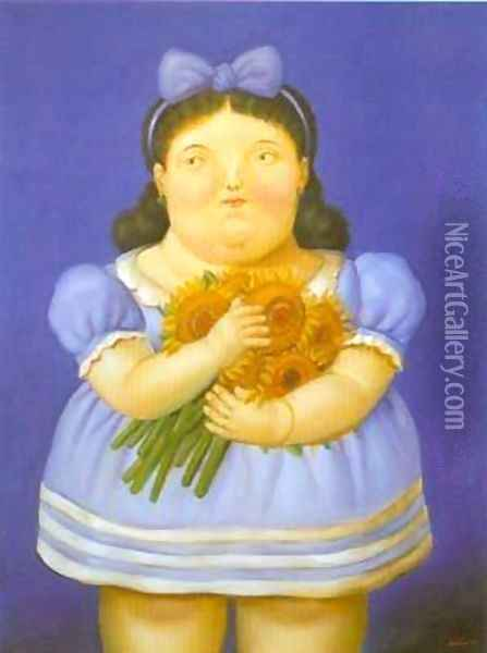 Girl with flowers 1995 Oil Painting - Fernando Botero