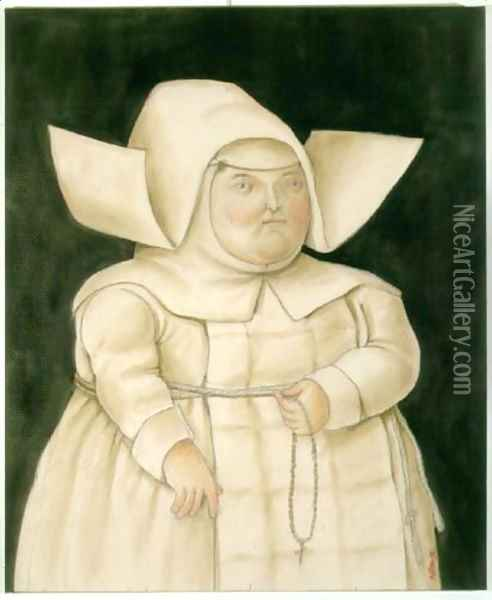 Mother Superior Madre Superiora Oil Painting - Fernando Botero