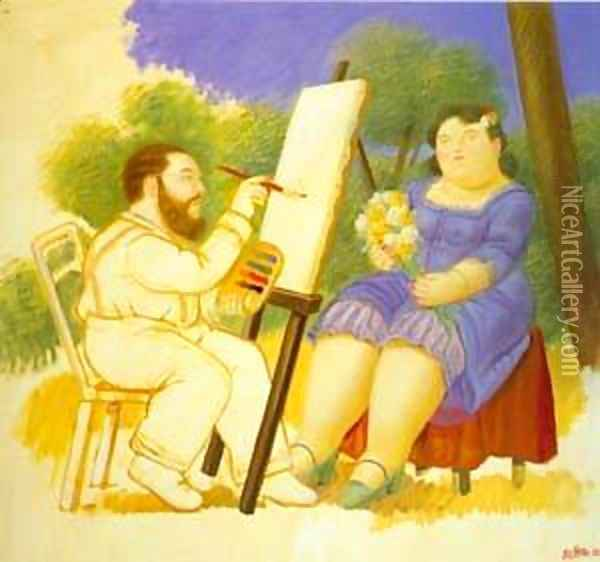 The Painter And His Model 1992 Oil Painting - Fernando Botero