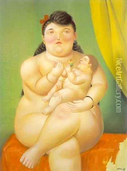Mother and Child 1995 Oil Painting - Fernando Botero