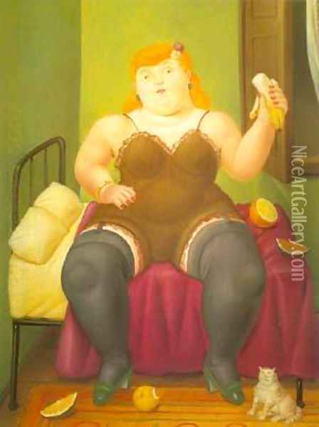 Seated Woman 1994 Oil Painting - Fernando Botero
