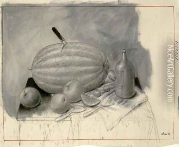 Still Life With Watermelon Oil Painting - Fernando Botero