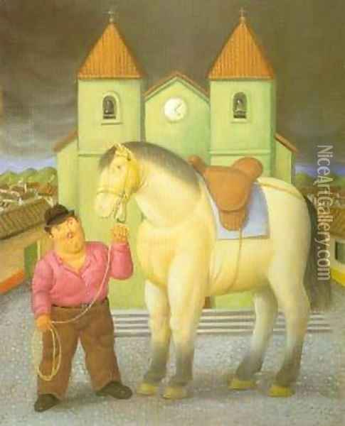 Man and Horse 1997 Oil Painting - Fernando Botero