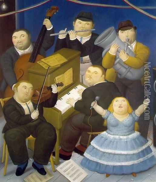 The Musicians Oil Painting - Fernando Botero