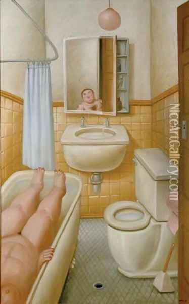 The Bath Oil Painting - Fernando Botero