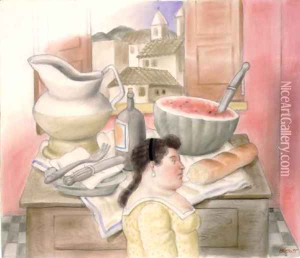 Interior Oil Painting - Fernando Botero