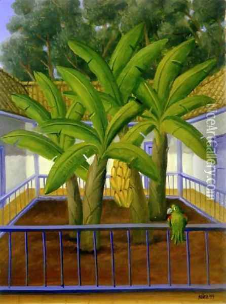 Garden El Patio Oil Painting - Fernando Botero