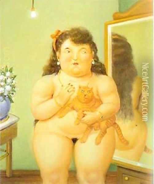 Woman with a Cat 1995 Oil Painting - Fernando Botero