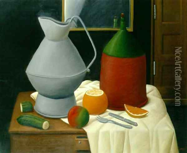 Still Life With A Mirror Oil Painting - Fernando Botero