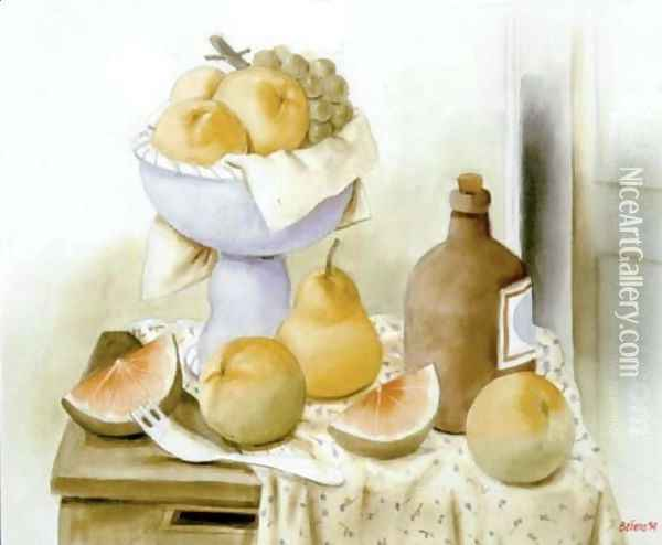 Still Life With Fruits And Bottle Oil Painting - Fernando Botero