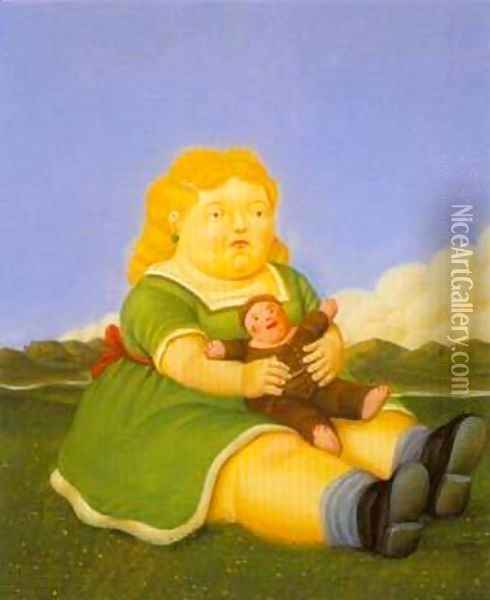 Girl With Puppet 1996 Oil Painting - Fernando Botero