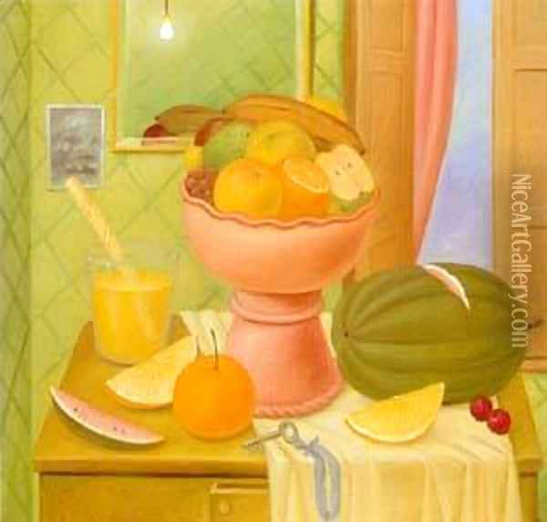 Still Life With Oranges 1993 2 Oil Painting - Fernando Botero
