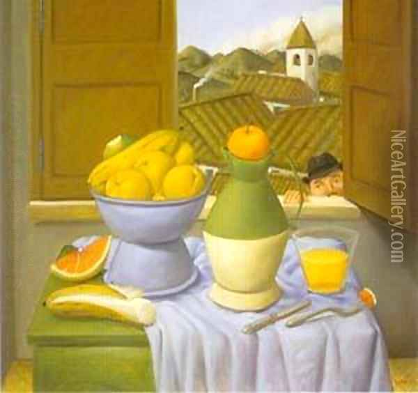Still Life in Front of The Window 1996 Oil Painting - Fernando Botero