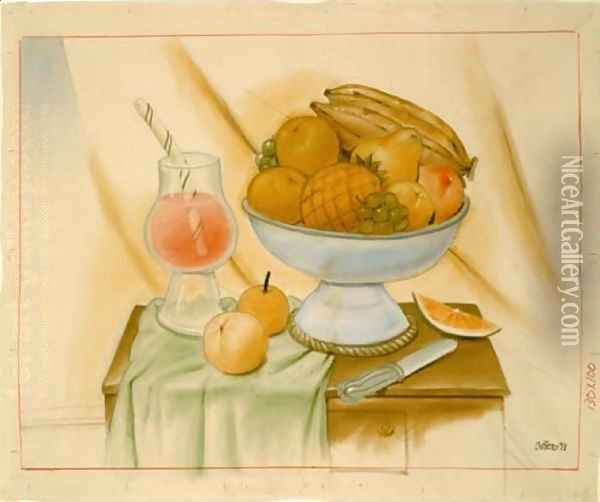 Still Life With Fruits Oil Painting - Fernando Botero
