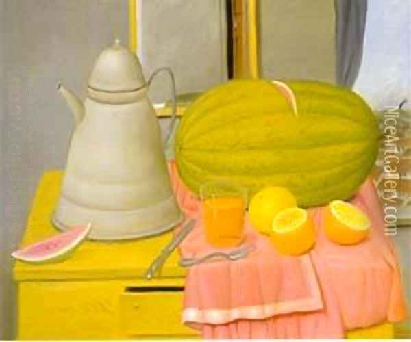 Still life With Watermelon 1992 Oil Painting - Fernando Botero