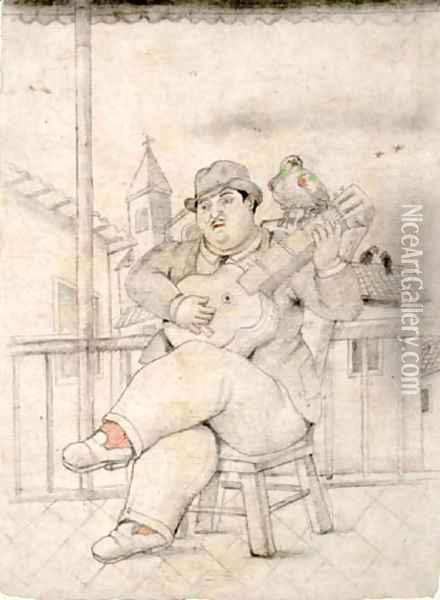 Man Playing The Guitar Oil Painting - Fernando Botero