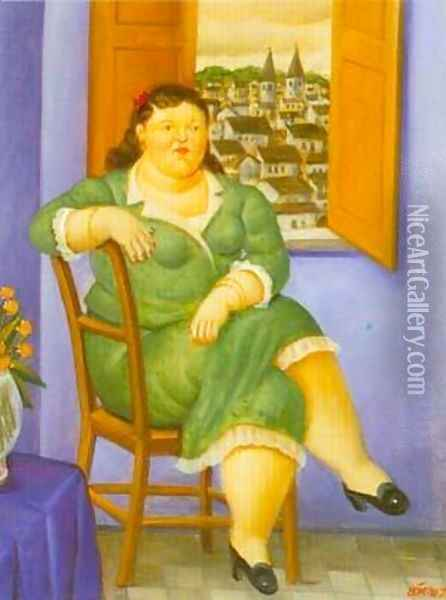 Woman in front of the Window 1995 Oil Painting - Fernando Botero