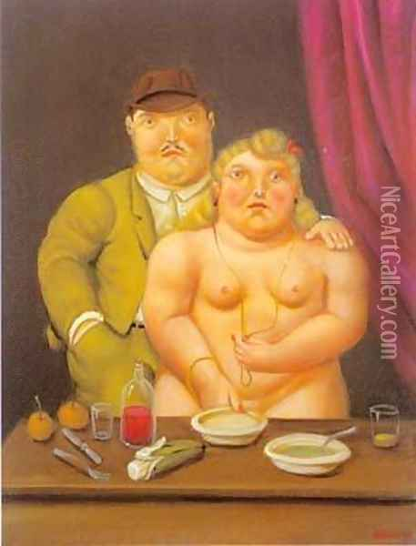 Man and Woman 1996 Oil Painting - Fernando Botero