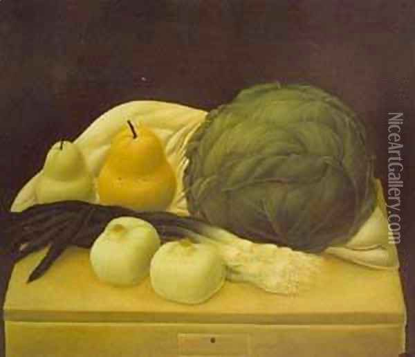 Still Life With Cabbage 1967 Oil Painting - Fernando Botero