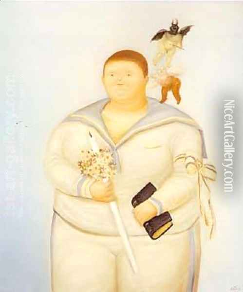 Self Portrait the Day of My First Communion 1970 Oil Painting - Fernando Botero