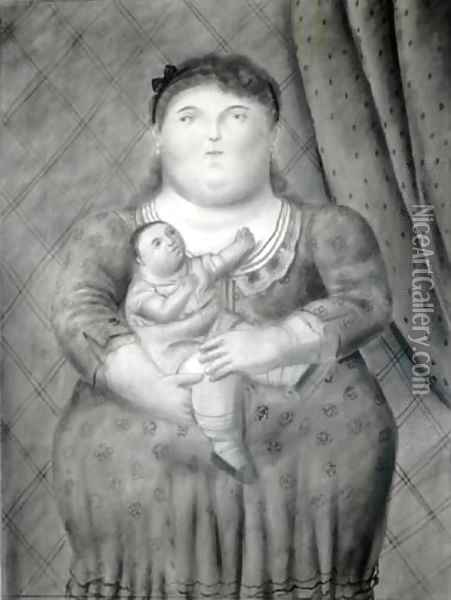 Mother And Baby Madre E Hijo Oil Painting - Fernando Botero